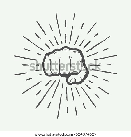 Fist with sunbursts in vintage style. Graphic art. Vector illustration