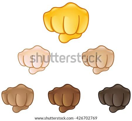 fisted hand sign emoji set of