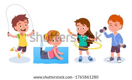 Fit boys & girls kids training & doing sport exercises. Smiling children skipping rope, spinning hula hoop, raising dumbbells & doing gymnastics. Fitness & wellness. Flat vector character illustration