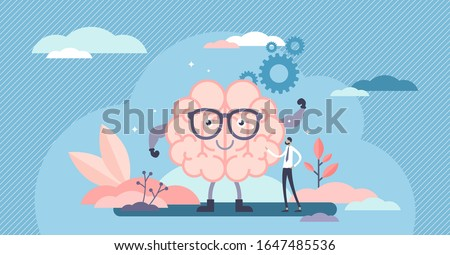 Fit brain cartoon character, flat tiny person vector illustration concept. Sharp mind and solving problems power. Human mental strengths and modern neurology science. Education and learning growth.