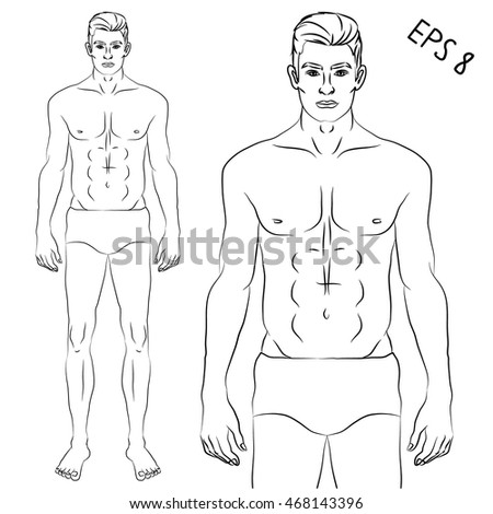 Fit fashion male model isolated vector illustration in EPS 8 format. Athletic man template for design.