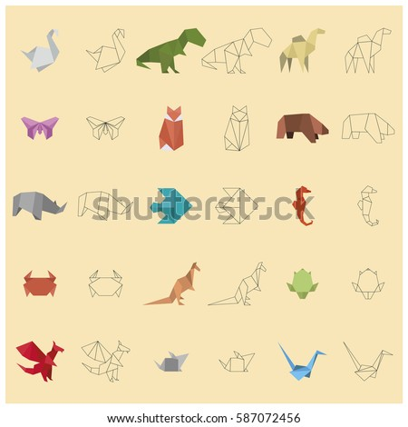 Fit of fifteen animals paper origami