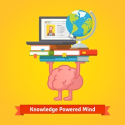 Fit, smart and trained brain lifting books full of knowledge. Education and studying concept. Flat vector icon.
