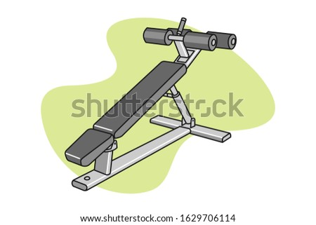 Fitness ab bench cartoon illustration