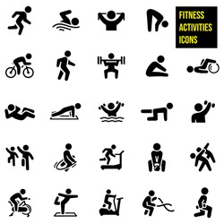 Fitness Activities Icons stock illustration. Running, swimming, stretching, cycling, walking, weight lifting, doing a sit-up, a pushup, water aerobics, step aerobics, strengthening, jump roping.