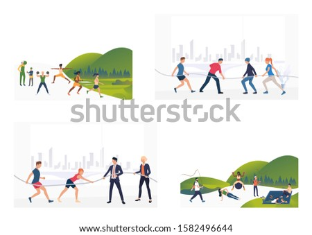 Fitness activities set. Sporty people training bodies, exercising, playing tug-of-war. Flat vector illustrations. Active lifestyle concept for banner, website design or landing webpage