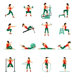 Fitness, Aerobic  and workout exercise in gym. Vector set of gym icons in flat style isolated on white background. People in gym. Gym equipment, dumbbell, weights, treadmill, ball.