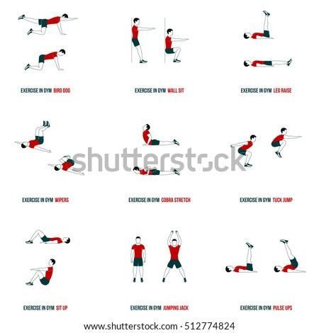 Stock Photo Fitness, Aerobic and workout exercise in gym. Vector set of workout icons in flat style isolated on white background.