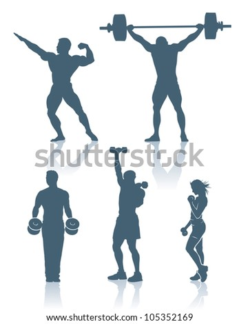 Fitness and bodybuilding silhouettes - vector beckground