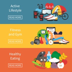 Fitness and diet banner. Healthy lifestyle, diet and weight loss. Flat vector illustration.