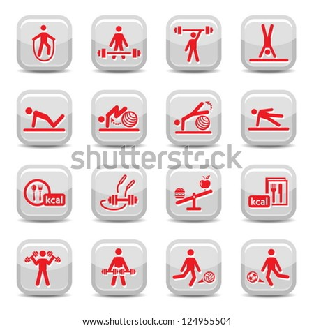 Fitness and Sport vector icon set for web and mobile. All elements are grouped.