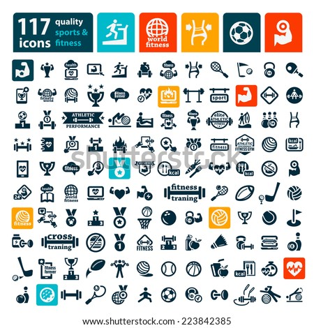 Fitness and Sport vector icons for web and mobile. All elements are grouped.