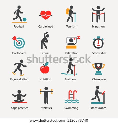 Fitness and Sport vector icons set