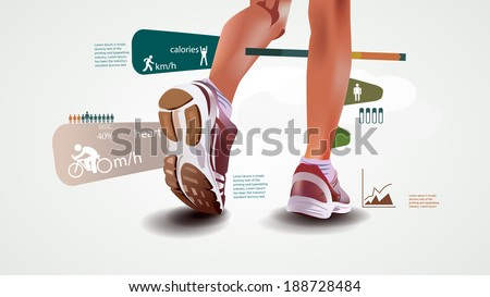 Fitness and sports statistics infographics with sport shoes run statistic