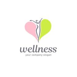 Fitness and wellness vector logo design.