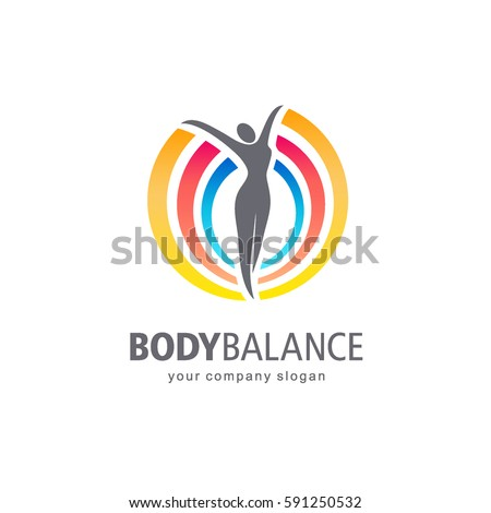 Fitness and wellness vector logo design. Body balance