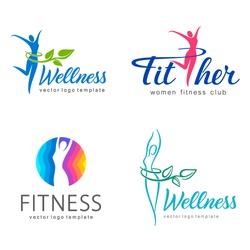 Fitness and wellness vector logo design  set