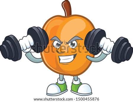 Fitness apricot cartoon character for nutritious maskot