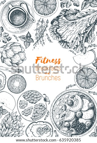 Fitness breakfasts and brunches top view frame. Healthy food menu design. Vintage hand drawn sketch vector illustration. Engraved style image. Fruits and vegetables for breakfast.
