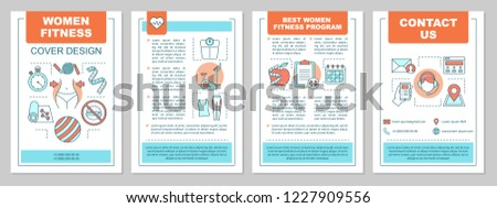 Fitness brochure template layout. Weight losing. Healthy lifestyle. Gym training. Flyer, booklet, leaflet print design. Physical activities. Vector page layouts for magazines, annual reports, posters