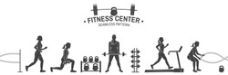 Fitness center seamless pattern or background. Vector illustration. For design fitness centers, gyms. Girl running, girl workout with barbell and do deadlifts. Gym wallpaper.