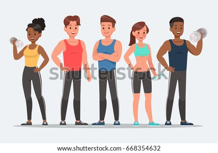Fitness character set vector design