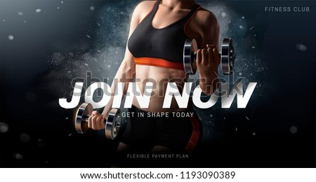 Fitness club ads with a healthy woman lifting weights on exploding powder effect background, 3d illustration