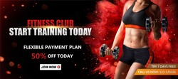 Fitness club banner ads with a healthy woman lifting weights on red exploding powder effect background, 3d illustration