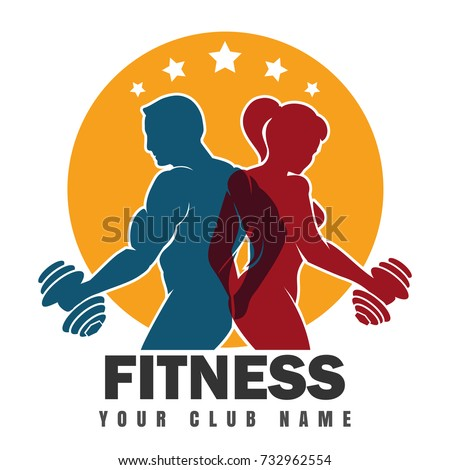 Fitness club emblem with muscled man and woman silhouettes. Man and woman holds dumbbells. Vector illustration