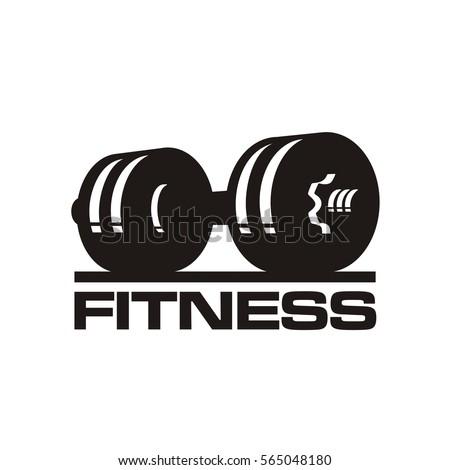 fitness club logo, dumbbels, vector illustration