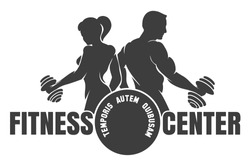 Fitness club logo with exercising athletic man and woman isolated on white, vector illustration