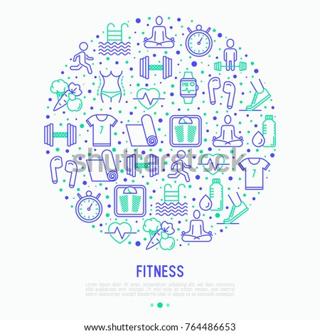 Fitness concept in circle with thin line icons of running, dumbbell, waist, healthy food, swimming pool, pulse, wireless earphones, sportswear, yoga. Modern vector illustration.
