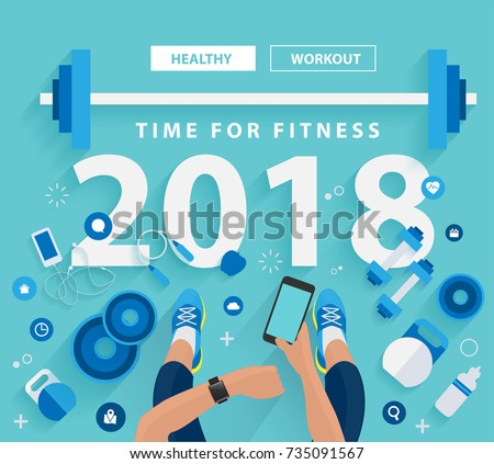 Fitness concept of fitness training 2018 new year, vector illustration modern layout template design
