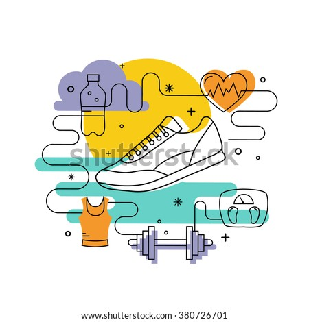 Fitness concept of fitness training, running shoes in outline style. Illustration with run sport icons and fitness training design elements. Vector fitness training running shoes for banners, posters.