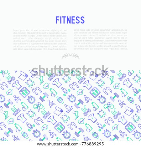Fitness concept with thin line icons of running, dumbbell, waist, healthy food, swimming pool, pulse, wireless earphones, sportswear, yoga. Modern vector illustration for print media, web page.