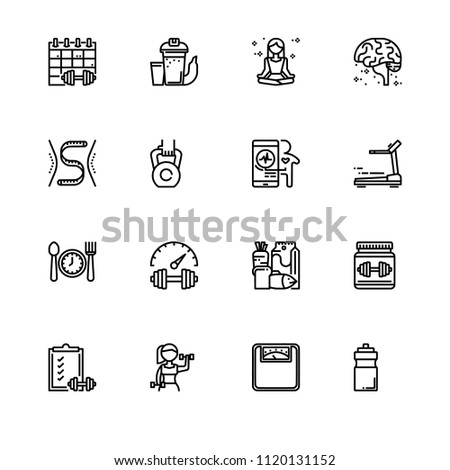 Fitness, Diet and Health. Set icon EPS 10 vector format. Professional pixel perfect black & white icons optimized for both large and small resolutions. Transparent background.