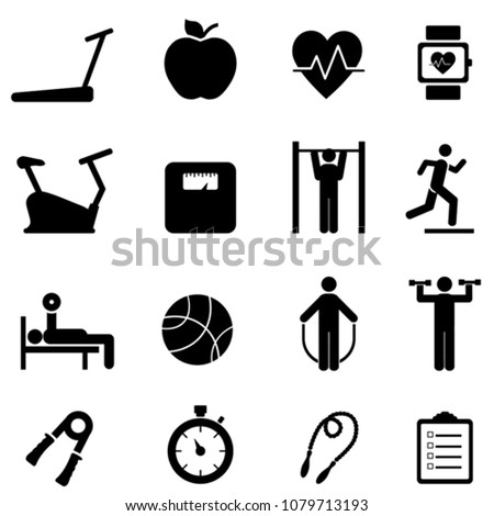 Fitness, diet and healthy life web icon set