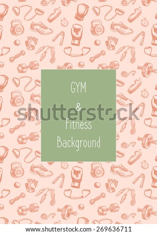 Fitness doodle hand drawn pattern. Sports, gym and training seamless vector background