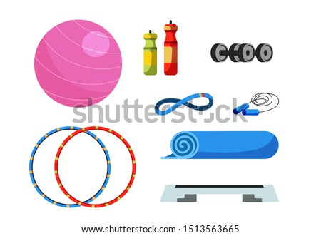 Fitness equipment flat vector illustrations set. Swiss ball, water bottles and dumbbells. Home and gym workout tools. Physical exercise accessories pack. Hula hoop, step platform and jumping rope