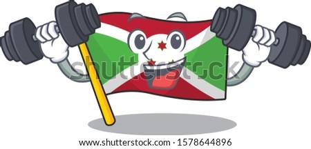 Fitness exercise flag burundi cartoon character holding barbells