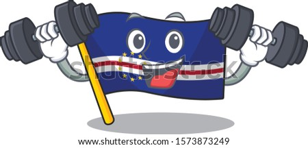 Fitness exercise flag cape verde cartoon character holding barbells