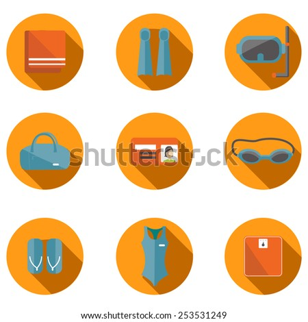 Fitness flat icon set. Vector set of swimming pool icon. Flat icon of swimming pool. Vector flat icon of fitness. Fitness elements. Vector flat design of fitness. Fitness details. Fitness woman.