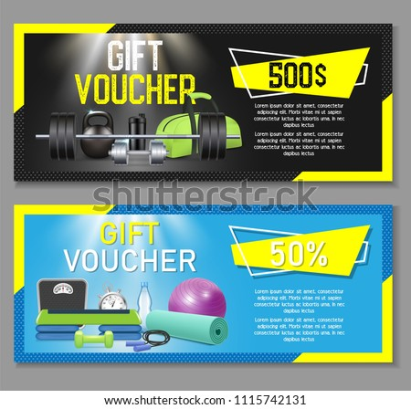 Fitness gift voucher template set. Vector illustration. Gift certificate, discount coupon, voucher mockup set for gym, fitness center or health club.