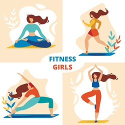 Fitness Girls Set, Sportswomen Meditating and Exercising in Different Poses, Engage Outdoor Aerobics, Healthy Sport Lifestyle, Pilates Workout, Training Yoga Cartoon Flat Vector Illustration, Banner