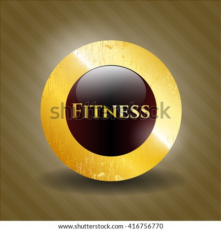 Fitness golden badge or emblem