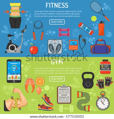 Fitness, Gym, Cardio, Healthy Lifestyle horizontal banners with flat icons Exercise Bike, waist, biceps and scales, vector illustration