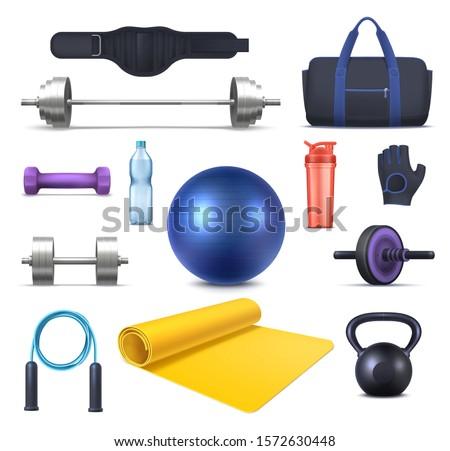 Fitness, gym club equipment and sport training garments, vector icons. Iron barbells and dumbbells, sportswear bag and yoga mat, drink bottle and bodybuilding glove, powerlifting belt and jump rope