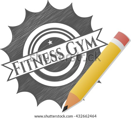 Fitness Gym drawn in pencil