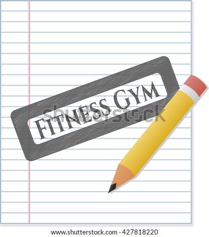 Fitness Gym emblem drawn in pencil