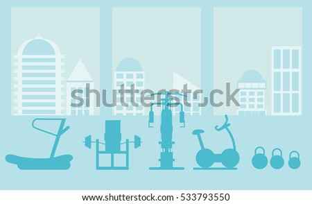 Stock Photo fitness gym interior template with sports equipments and cardio equipment, exercise bike, treadmills, elliptical trainers, . Fitness concept with sport Club in flat style. Blue silhouette.